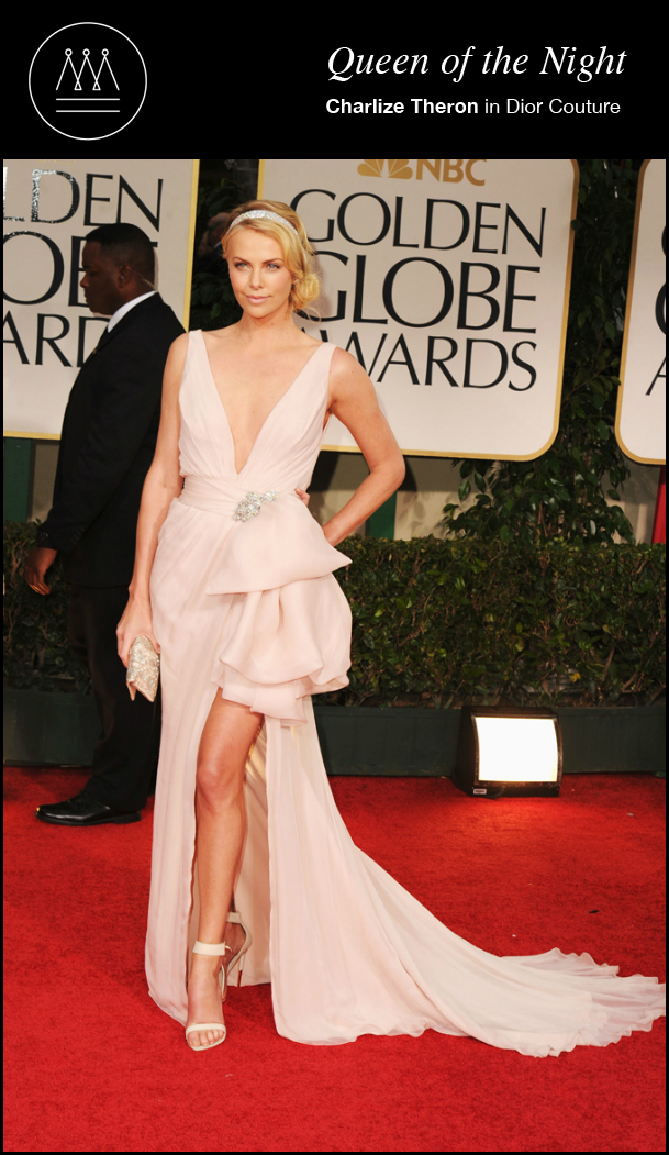 charlize theron in Dior Couture 69th golden globes
