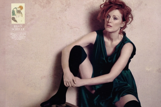 Julianne Moore for Harper's Bazaar poses as Egon Schiele painted in 1917