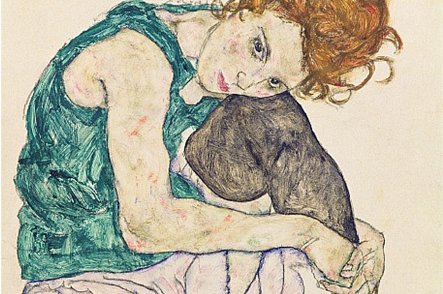 seated-woman-with-bent-knee-egon-schiele-1917