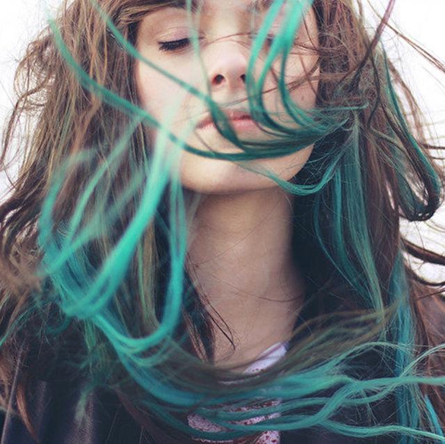 Blue brunette dip-dyed hair