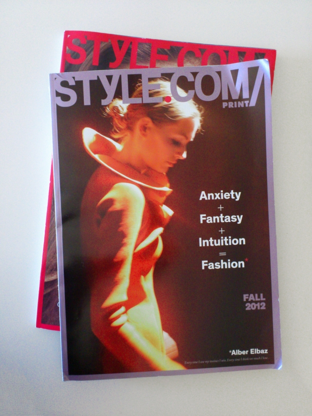 STYLE.COM Print Magazine - first two issues - Spring 2012 and Fall 2012