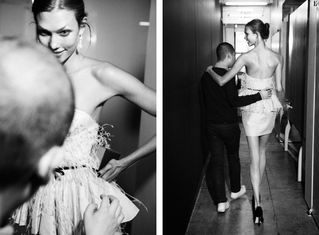 Jason Wu gives his final touch to model Karlie Kloss for the Met Gala After Party