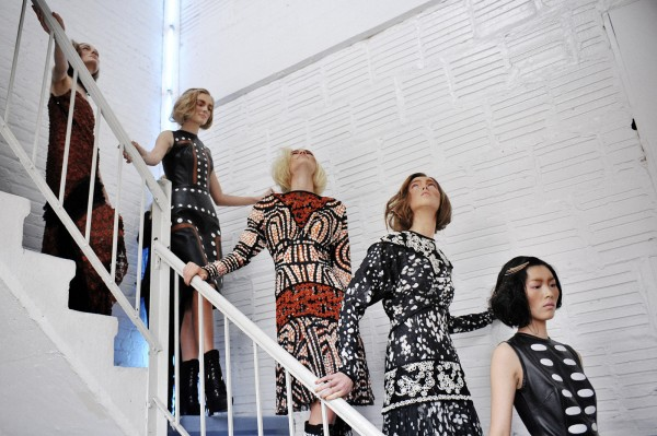 Models going down the stairs at Rodarte Backstage Fall-Winter 2012