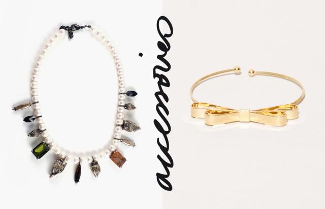 Pixie Market - Pearl And Crystal Quartz Necklace + Gold Bow Arm Bracelet