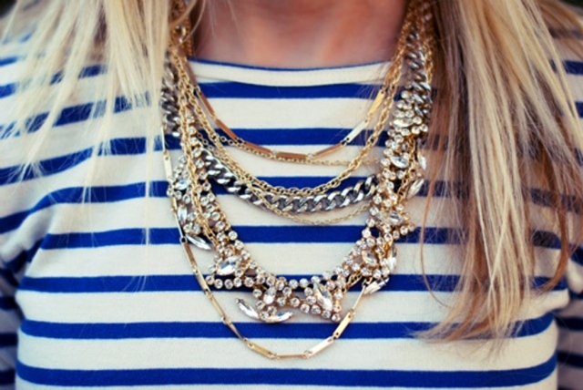 Strass necklaces over Striped shirt