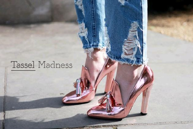 Alexander Wang tassel metallic shoes